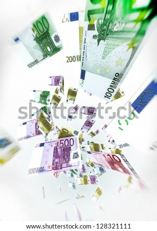 Euro Bills Fly on air - Money Concept Illustration on white background - stock photo