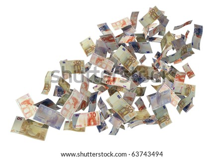 euro bills flying over white background - stock photo