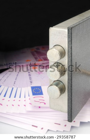 Euro bills in a safe - stock photo