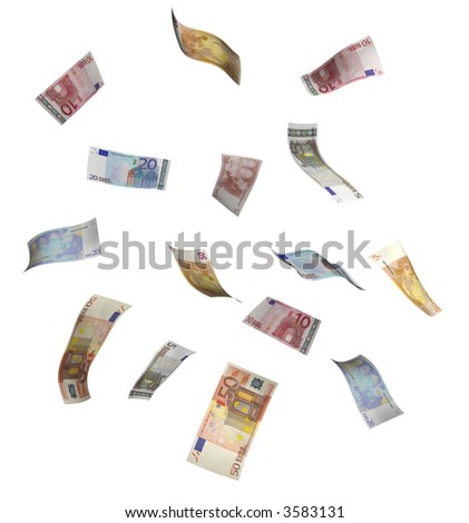 euro bills isolated on white.