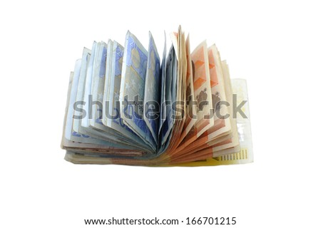 Euro bills spread in a shape of book - stock photo