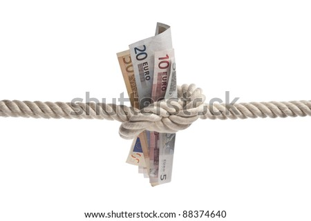 euro bills tied with rope on white background with copy space