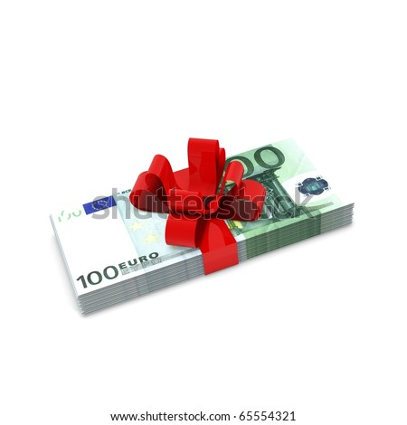 Euro bills with red ribbon - stock photo