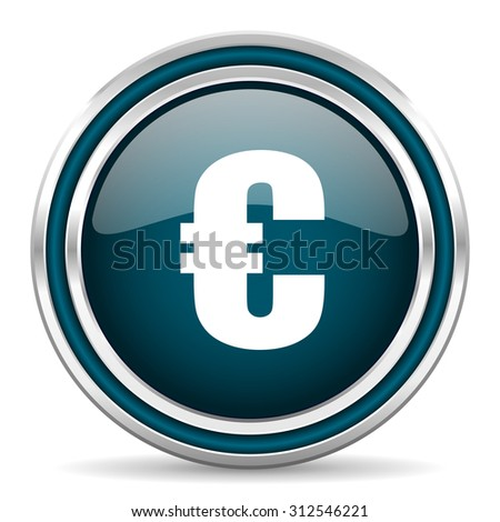 euro blue glossy web icon with double chrome border on white background with shadow     - stock photo