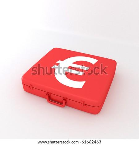 Euro Briefcase - stock photo