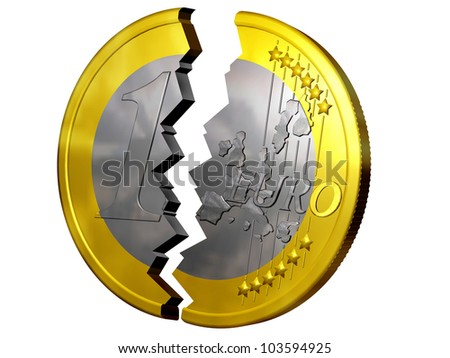 euro broken in two pieces - stock photo