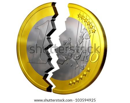 euro broken in two pieces - stock photo