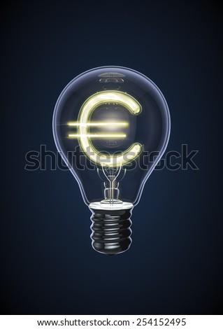 Euro bulb - stock photo