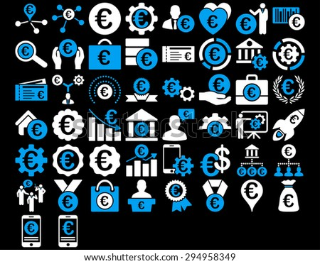 Euro Business Iconst. These flat bicolor icons use blue and white colors. Glyph images are isolated on a black background.  - stock photo