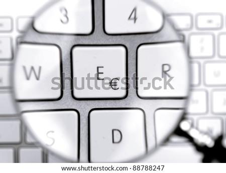 euro button on keyboard - stock photo