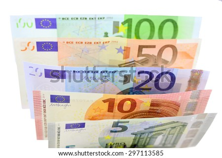 Euro cash denominations in 5, 10, 20, 50, and 100 bills