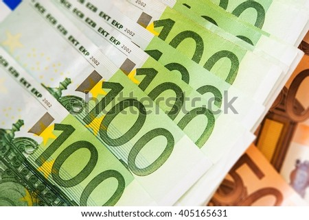 Euro Cash Money Closeup. One Hundred and Fifty Euros Banknotes Background. - stock photo