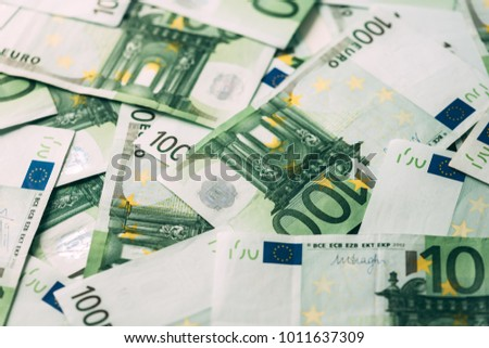 Euro cash stack closeup. Financial currency concept