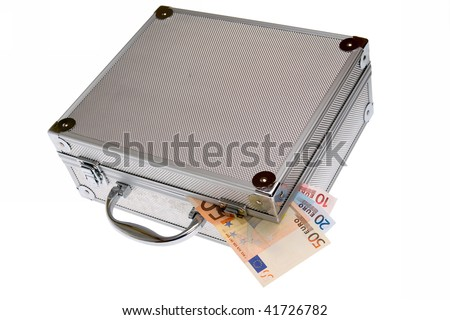 Euro cash - Toolbox, silver suitcase isolated on white - stock photo
