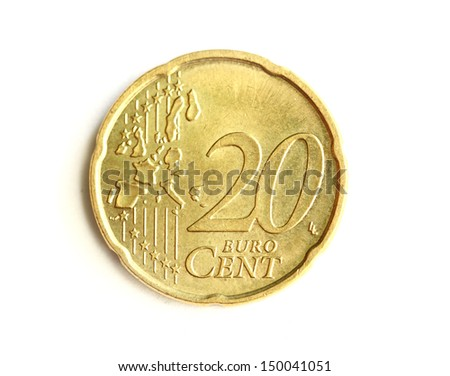 Euro cent coin. Isolated on white - stock photo