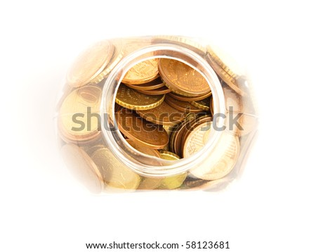 euro cents bottle - stock photo