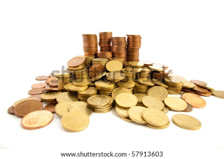 euro cents isolated - stock photo