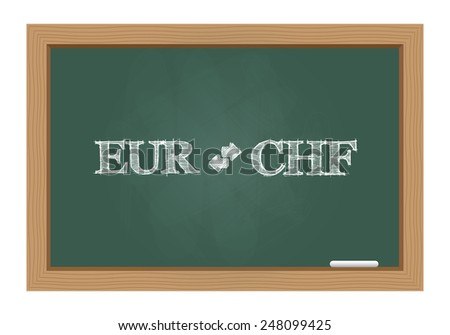 Euro chf currency exchange text on chalkboard. Vector available. - stock photo
