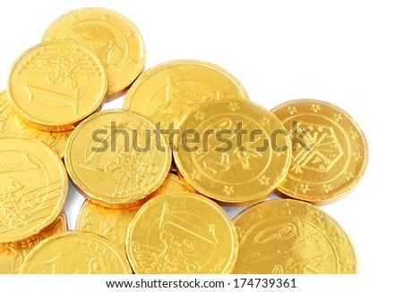 Euro chocolate coins isolated on white background.  - stock photo