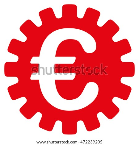 Euro Cog icon. Glyph style is flat iconic symbol with rounded angles, red color, white background.