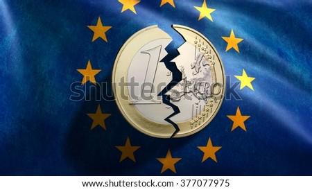 euro coin broken in front of EU flag - stock photo