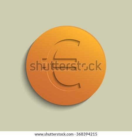 Euro coin bronze  - stock photo