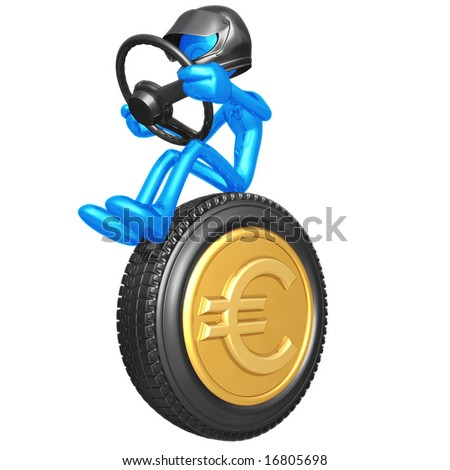 Euro Coin Currency Racer - stock photo