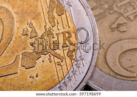 Euro coin, denomination two - stock photo