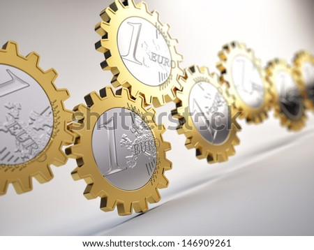 Euro coin gears  - financial system concept - stock photo