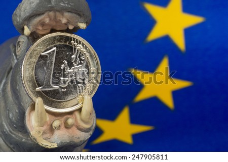Euro coin in mouth of a hippo figurine - stock photo