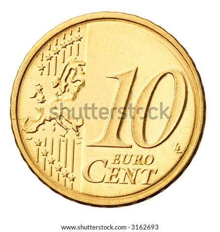 Euro coin isolated on white - stock photo