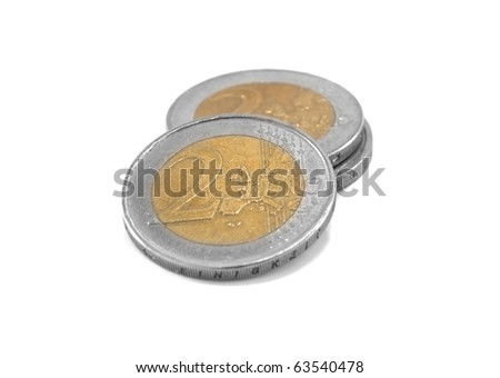 euro coin isolated on white background - stock photo