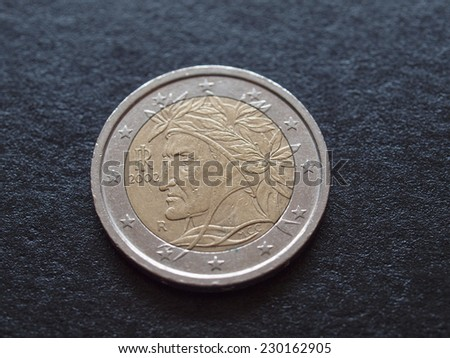 Euro coin issued by Italy to celebrate writer Dante Alighieri (1265-1321) - stock photo