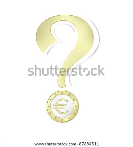 Euro coin - money concept with question mark - isolated against white background including clipping path - raster version - stock photo
