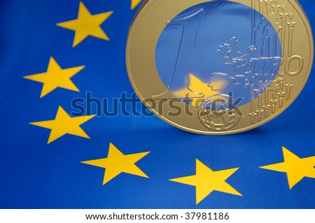Euro-coin on an European flag