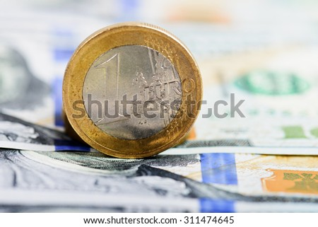 euro coin on money background - stock photo