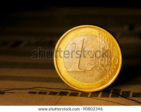 Euro coin on stock chart. - stock photo