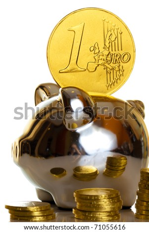 Euro coin on white background macro close up - stock photo