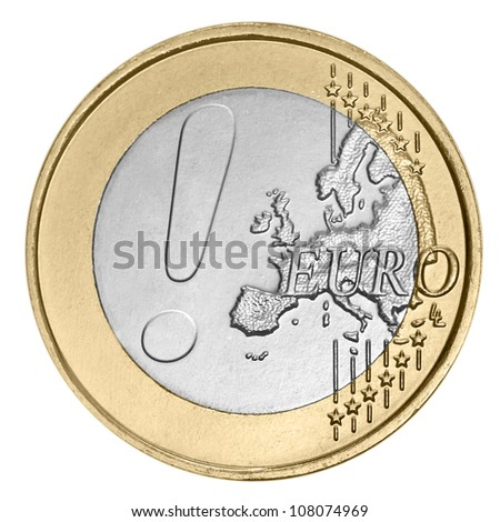 Euro coin with exclamation mark - stock photo