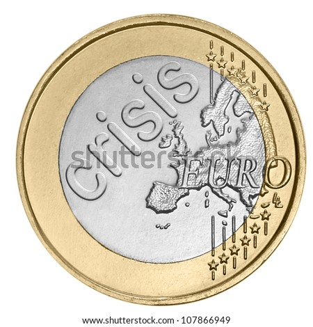 """Euro coin with word """"crisis"""" - stock photo"""