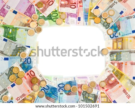 euro coins and banknotes frame. money background - stock photo
