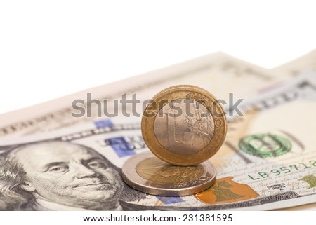 Euro Coins And Dollars  - stock photo