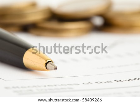 euro coins and graph - stock photo