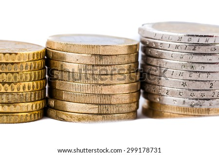 Euro Coins closeup on a white background finance concept - stock photo