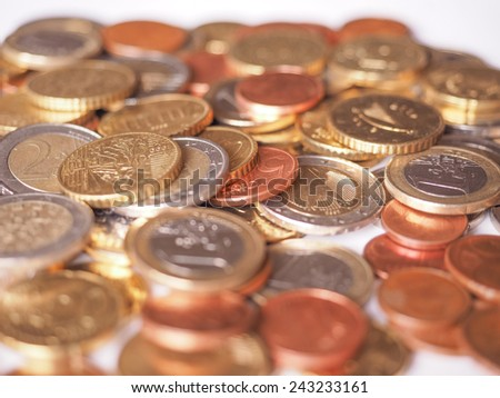 Euro coins currency of the European Union - stock photo