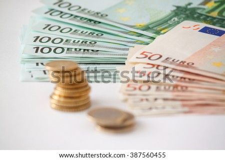 Euro coins. Euro currency.Coins stacked on each other in different positions. Money concept - stock photo
