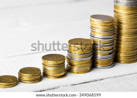 Euro coins. Euro money. Euro currency.Coins stacked on each other like rating chart. Money concept