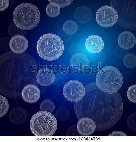 Euro Coins Falling - stock photo