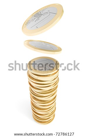 Euro coins falling on a coin pile - stock photo