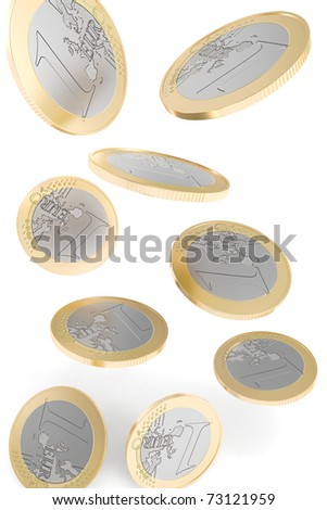 Euro coins falling to the ground - stock photo